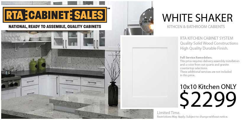 White shaker RTA Cabinet Sales