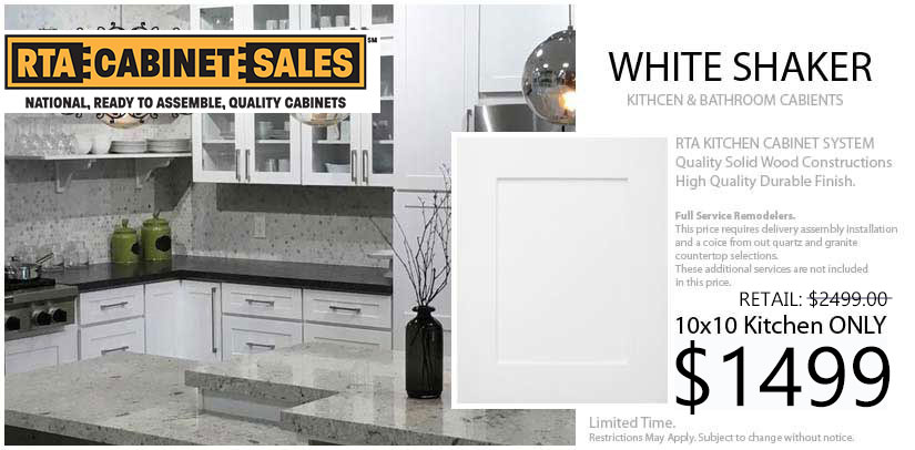 white shaker Cabinets RTA Cabinet Sales