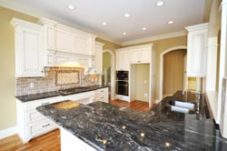 Black Granite kitchen white cabinets - Los Angeles RTA Cabinet Sales